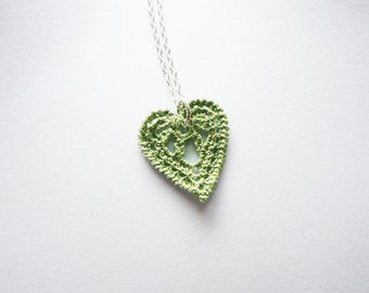 Lace Crochet Green Heart Pendant