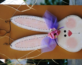 """April - Easter Bunny for """"Welcome to Our Home"""" Seasonal Wood Sign - Door or Wall Hanger"""