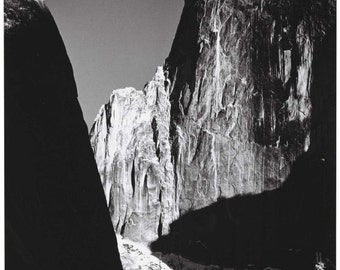 Ansel Adams, Moon and Half Dome, Yosemite National Park, Sierra Mountains, famous black & white photos, fine art print poster OR canvas