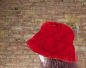 in charge 90s bucket hat / plush hat / oversized hat / brimmed hat / fuzzy bucket / 90s normcore / grunge / red bucket hat / red winter hat