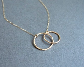 Gold Infinity Ring Necklace - interlocking, linked rings, hoops, circles, infinity necklace