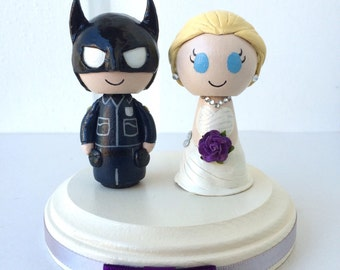 Policeman Policewoman Wedding Cake Topper w/ customizable Bride and Groom! Made to Order!