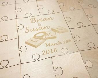 Wedding Puzzle Guest Book (Scrabble Tiles) 32-400 Piece Wedding for Weddings, Guest Book Puzzle, Guestbook puzzle, Rustic, Laser Engraved