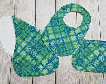 Baby Girl Bib/Burpcloth/Washcloth Set- Green and Blue Floral Design