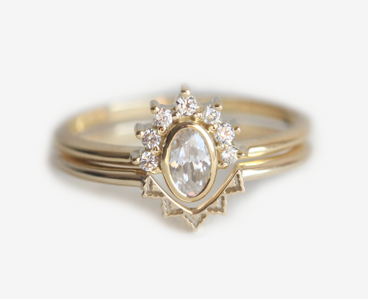 oval diamond crown ring with lace crown wedding rings zoom