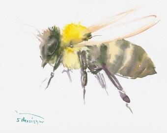 "Honey Bee , Original watercolor painting 6"" X 8"""