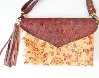 Leather crossbody or shoulder bag in autumn colors print.