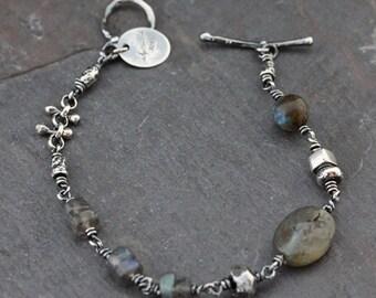 Reserved For Mel... Natural Labradorite Bracelet. Gemstone Bracelet. Sterling Silver Bracelet. Artisan Bracelet