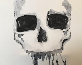 Skull Watercolor painting, Original art, Wall decor, Illustration