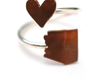 Arizona State Twist Ring (Sterling Silver & Copper Place State Love Map Ring)