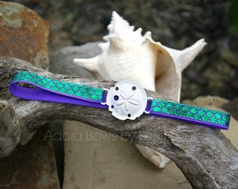 Ready to ship green and purple mermaid scales white sand dollar halo headband OSFM baby infant headband