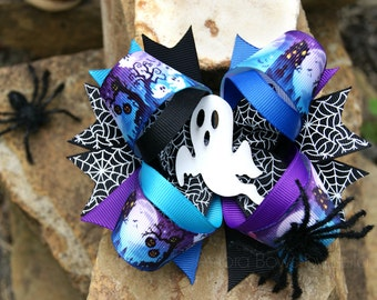 Halloween stacked ghost spider boutique hair bow kids girls child toddler adult hair clip halloween hair bow costume accessory