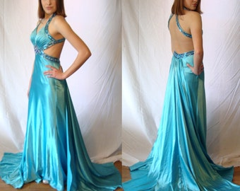 Spring formal, evening gown, mermaid, bridesmaid gown, pageant, prom,by Tony Bowls Paris,NOS, ball gown, Turquoise, small sz 4,