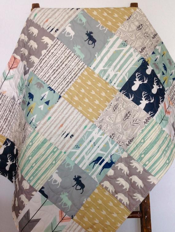 Baby Quilt Gender Neutral Baby Quilt Woodland Blanket Baby