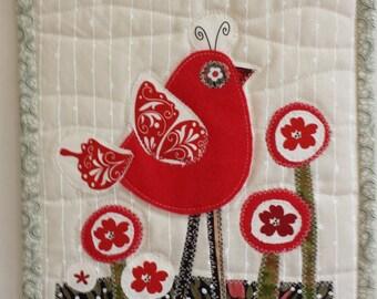 Red bird in garden
