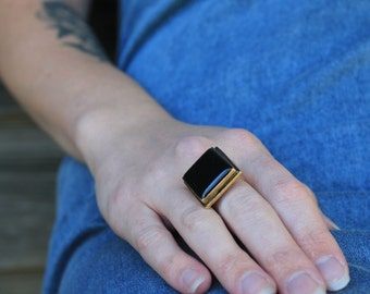 Black Resin Ring - Gold Statement Ring -  Adjustable Ring - Square Ring - Gift for Her - Bridesmaid Gift - Unique Jewelry