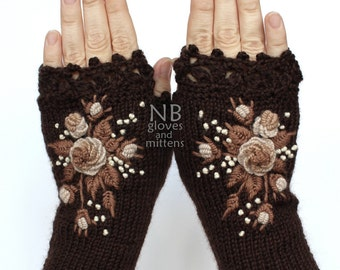 Knitted Fingerless Gloves, Chocolate Brown, Beige, Cappuccino, Roses,Gloves & Mittens,Gift Ideas, For Her, Winter Accessories, READY TO SHIP