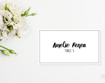 Printable place cards Formal placecards Reception place cards Wedding placecards Black and white place cards Folded placecards Script