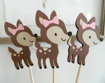 6 Girl Fawn Centerpiece Sticks Fawn Birthday Party Girl Woodland Baby Shower Woodland First Birthday Fawn Decorations • Set of 6