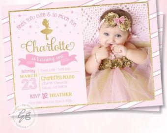 Ballerina Invitation Ballerina Birthday Invitation Ballerina Invite Pink & Gold Invitation Ballerina Birthday 1st Birthday Tutu Invite