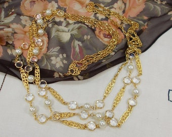 Vintage 1970s Goldette 3 Strand Crystal and Faux Pearl Chain Necklace  1190