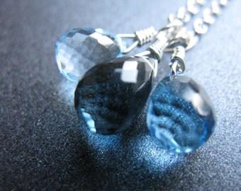 Blue Stone Necklace, December Birthstone, Swiss Blue Topaz, London Blue Topaz, Sterling Silver, Gemstone Trio Necklace, Bridal - Waterfall