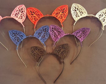 Embroidered Lace Cat Ear Headband