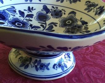 Vintage Blue and White Porcelain Fruit Bowl