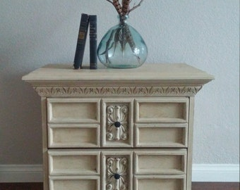 Gorgeous French Country Nightstand-Ornate Cream/Ivory/Beige Side Table