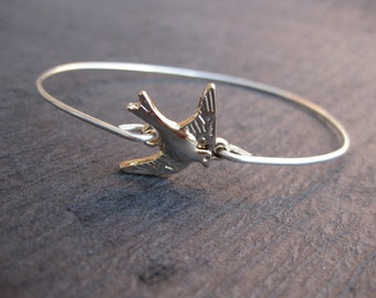 Rose Gold & Sterling Silver Sparrow Bird Bangle .925 Sterling Silver Bracelet, Flying Sparrow Bracelet, Bird bracelet, bird jewelry