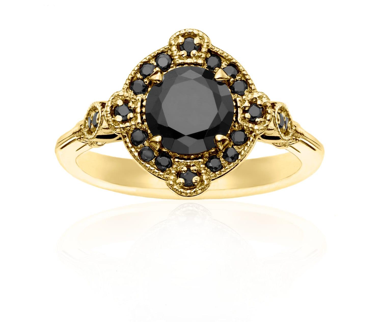 Deco Yellow Gold & Black Diamond Ring Vintage Wedding