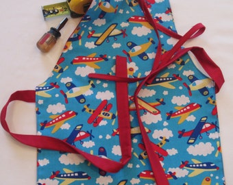 Toddler Apron | Preschool Apron | Fits 2T-6 | Airplanes Apron | Kitchen Helper Apron | Handmade Reversible Apron