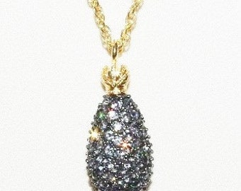 Joan Rivers Egg Necklace with Caviar Crystal Pendant         - S1041
