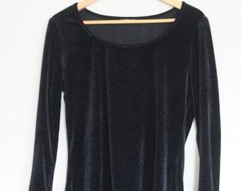 Black Velvet Long Sleeved Scoop Neck Top/Blouse