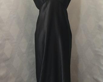 Vintage 1980s Black Satin Ann Taylor Halter Floor Length Gown Size 4