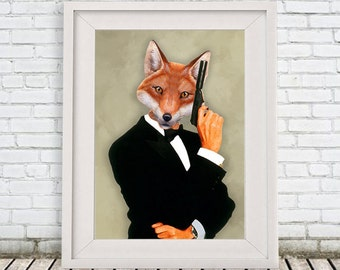 Fox James Bond, Animal painting portrait painting  Giclee Print Acrylic fox Painting fox Print fox art, fox painting, decor fox illustration