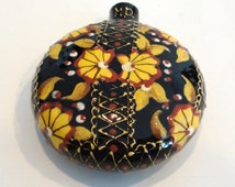 HENNA Painted Terra Cotta Small Container Signed MD
