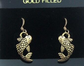 Gold Koi Fish Earrings on Gold Filled Ear Wires, Fish Earrings, Koi Charms, Koi Fish Jewelry, Carp Earrings, Gold Carp Jewelry, Japanese Koi