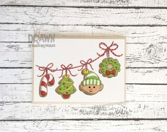 Christmas Holiday Greeting Cards: Cookie Garland