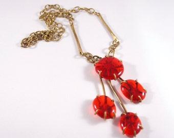 Rare Rafael Canada Necklace - Cherry Comet - Large - Red Brass - Huge Runway - Modernist Brutalist -  Alfandary 1970