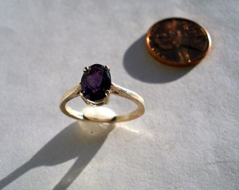 Natural Amethyst Faceted 8x6mm Oval Sterling Silver Ring Size 5.75 Vintage Purple Gemstone Jewelry hand made February Birthstone