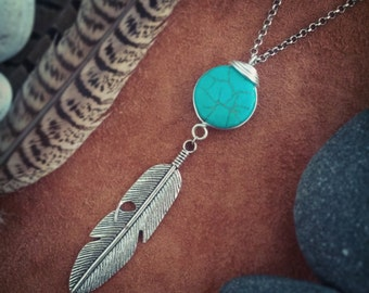 Into Dust // Feather Necklace // Turquoise Necklace // Tribal Necklace // Boho Necklace // Native American Necklace // Boho Chic // Hippie