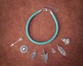 Custom Bracelet // Boho Bracelet // Leather Bracelet // Hippie Bracelet // Turquoise Bracelet // Boho Chic // Arrowhead // Feather // Buddha