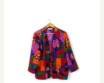 SUMMER SALE Vintage Colorful Abstract Slouchy Blazer jacket  from 1980's *