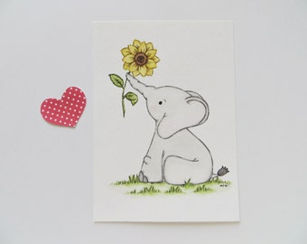 Elephant and flower, nursery painting, baby elephant, original painting, sunflower art, nursery decor, sunflower painting, elephant nursery