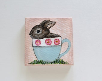 Teacup Bunny, mini painting, acrylic painting, little bunny art, miniature art, nature painting, bunny painting