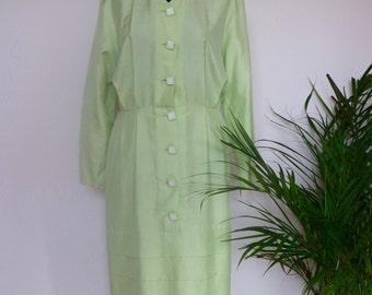 Gorgeous light mint green nineties Guy Laroche dress in SILK eu 40