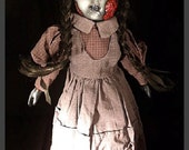 """Sayomi 16"""" Scary Creepy OOAK Hand Painted and Altered Porcelain Doll"""