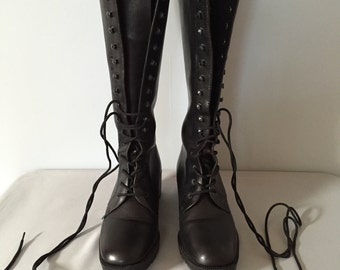 PRICE REDUCED...90s tall boots | Geoffrey Cardin black leather lace up boots | size 8.5