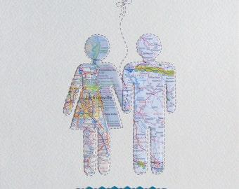 Anniversary Map Gift - Wedding Map Gift - Personalized Map Art -- Map Couple Wall Art